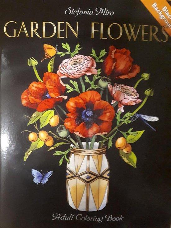 Afbeelding van Garden Flowers Adult Coloring Book (black background)