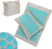 Qumax Spijkermat met kussen - Acupressuur set inclusief Draagtas – Massagemat – Complete Set - Yoga Mat – Gemaakt van 100% Duurzaam Katoen en Linnen – 75 x 45 CM