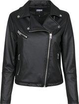 | Maat 36 Imitatie Leren Biker jas voor Dames – Zwart