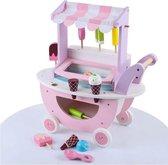 Tien Tenen - Houten Speelgoed - Speelgoedwinkel kinderen - Duwwagen - IJskraam met ijsjes