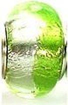 Licht duo groene folie Murano glaskraal | Zilverana | geschikt voor Biagi , Pandora , Trollbeads armband | 925 zilveren kern