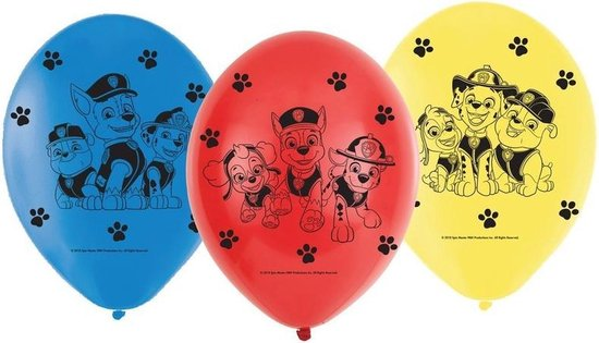 12x Paw Patrol ballonnen versiering voor een Paw Patrol themafeestje - thema feest ballon kinderfeestje/verjaardag