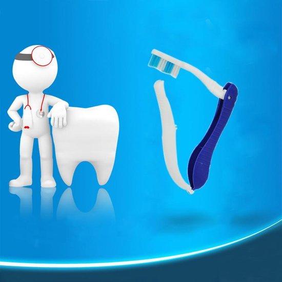 4 Stuks Opvouwbare Tandenborstel - Handtandenborstel Voor Op Reis Donkerblauw