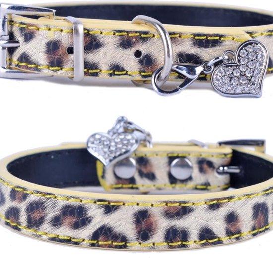 Hondenhalsband Panterprint - PU Leren Halsband Panterprint - M - Kleine honden