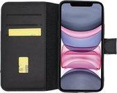 MP case echt leer bookcase iPhone 11 hoesje - Zwart