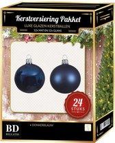 24 Stuks mix glazen Kerstballen pakket donkerblauw 6 en 8 cm - kerstballen pakket