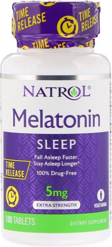 Melatonine, vertraagde afgifte, extra sterk, 5 mg, 100 tabletten, Natrol