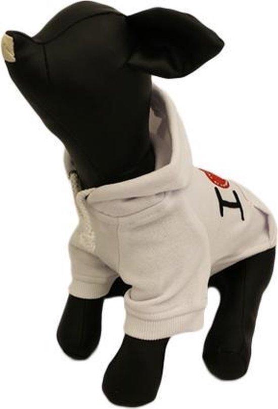 Hoodie sweater wit met tekst I LOVE U - XL (rug lengte 34 cm, borst omvang 52 cm, nek omvang 38 cm )
