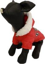 Winterjas voor de hond in de kleur rood met bont randje en print - L (rug lengte 29 cm, borst omvang 42 cm, nek omvang 28 cm )