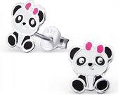 Zilveren kinder oorknopjes - panda oorbellen -