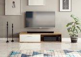 TV meubel Modern Wit Eiken 140 cm - 2 Opbergvakken - Duitse Kwaliteit