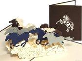 Popcards popupkaarten – Paarden in galop Paard Doelgericht Standvastig Verjaardag Felicitatie Vaderdag pop-up kaart 3D wenskaart