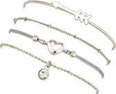 Joboly Set armbanden pijl hart diamant bolletjes coin 4 delig - Dames - Zilverkleurig - 17 cm