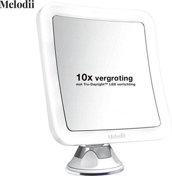 Spiegel met LED verlichting - Make-upspiegel met 10x Vergroting en Sterke Zuignap