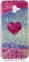 Let op type!! Voor Galaxy J6 + gekleurde tekening patroon IMD vakmanschap zachte TPU beschermhoes (rood hart)