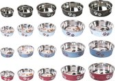 Bowl bella paw motive red, 21cm stainless steel