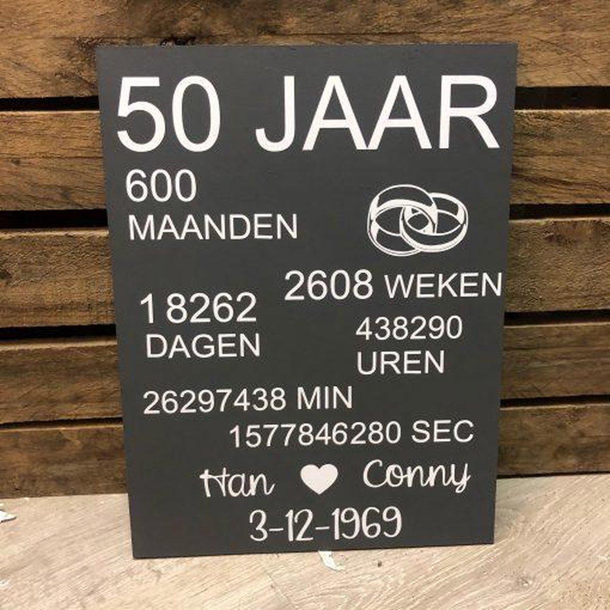 Spiksplinternieuw bol.com | Tekstbord – 50 jaar getrouwd - Bruiloft cadeau WR-62