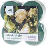 4x Rond groen steekschuim/oase blok nat 8 x 5 cm - Steekschuim voor echte bloemen - Kerststukjes maken