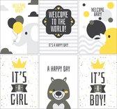 Geboortekaartjes - Set van 6 x Geboortekaart - Jongen en Meisje / Zoon en Dochter
