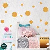 Cirkels, Dots muurstickers set van 86 stippen kleur Koper/Brons