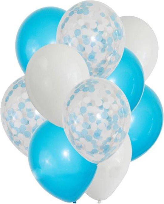 DW4Trading® Ballon blauw wit mix confetti 10 stuks