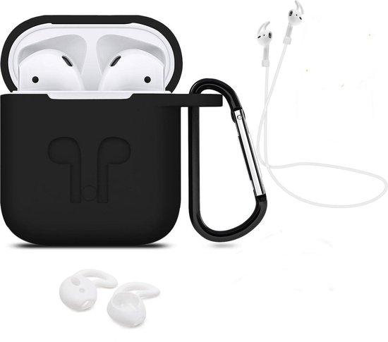 Afbeelding van 3 in 1 set! Hoesje voor Airpods siliconen case cover beschermhoes + strap + earhoox - zwart