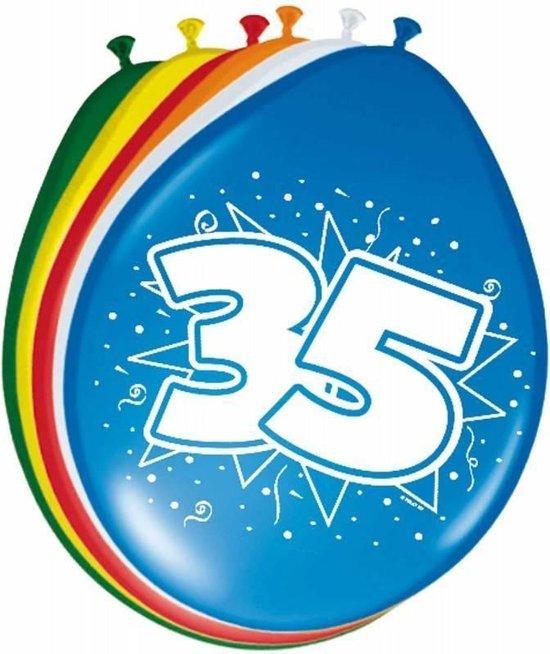 Ballonnen ster 30 cm: 35 jaar - 8 stuks (08223)
