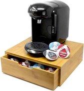 KeukenPrins Premium Bamboe Koffie Capsule Houder - Koffiepads Bewaarbus & Cuphouder met Lade – Theedoos - Dolce Gusto - Nespresso – L'Or– 64 Pads