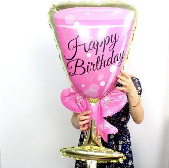 Folieballon roze glas bubbels