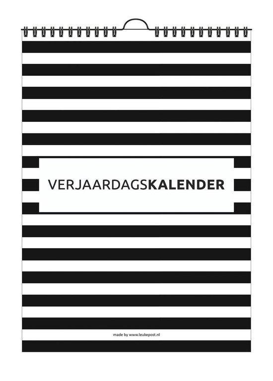 Verjaardagskalender - A4 - Zwart-wit