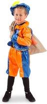 Pietenpak Blauw/Oranje 3delig maat maat 116/128 6 tot 8 jaar