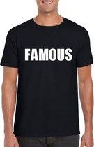Famous tekst t-shirt zwart heren 2XL