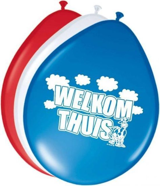 8x Welkom thuis ballonnen - 30 cm - versiering