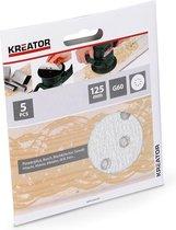 Kreator KRT230554 Schuurpapier rond – Ø125 mm – korrel K60 – 5 stuks - verf