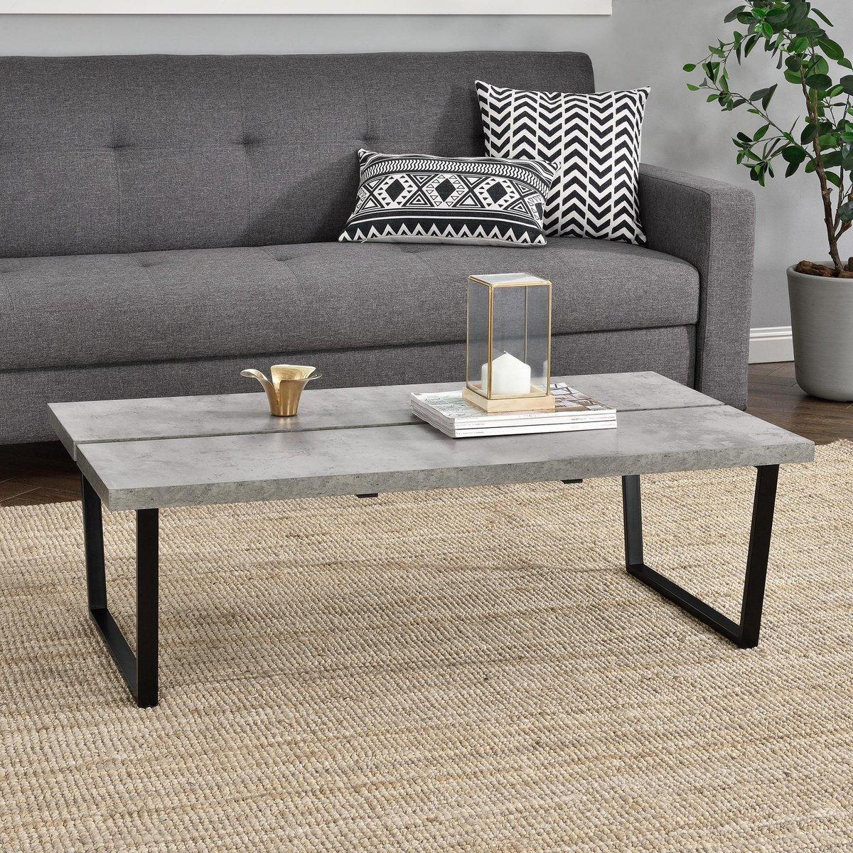 en.casa® Bradford Moderne Salontafel - Betonlook - Metalen frame - en.casa