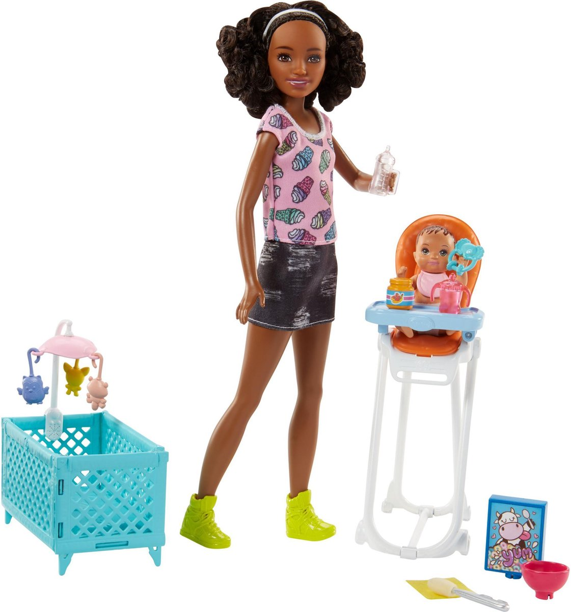 Barbie Babysitter met Kinderstoel Set - Barbie