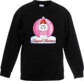 Kersttrui met roze eenhoorn kerstbal zwart voor meisjes 14-15 jaar (170/176)