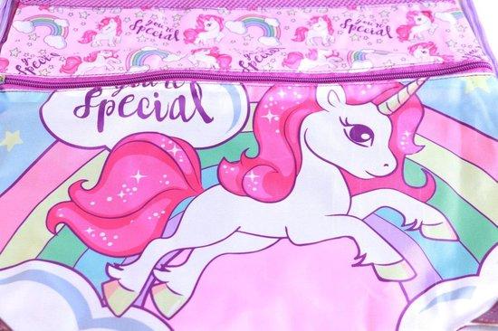 Paraplu Unicorn + rugzak meisjes | doorzichtige koepelparaplu Ø70cm kind | Eenhoorn gymtas US01