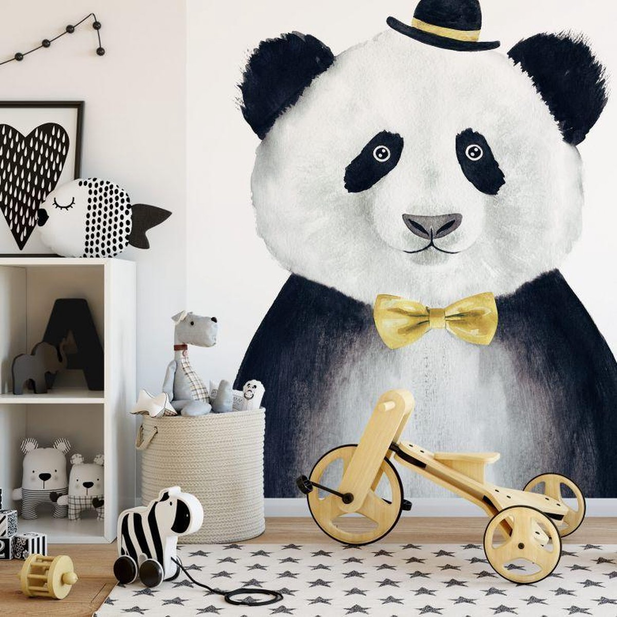 Fotobehang Cuddly Gentleman 192x260 cm - topkwaliteit vliesbehang - Panda Behang Kinderkamer - WallArt