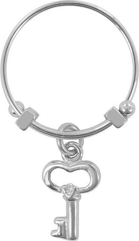 CO88 Collection Beloved 8CR 10001 52 Stalen Ring met Hanger - Sleutel - Maat 52 - Zilverkleurig