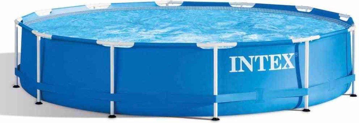Intex Zwembad opzetzwembad rond opzet staand metalen frame niet opblaasbaar makkelijk tuin buitenzwembad 366x76cm