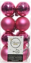 Decoris kerstballen - 16 stuks - 4cm - kunststof