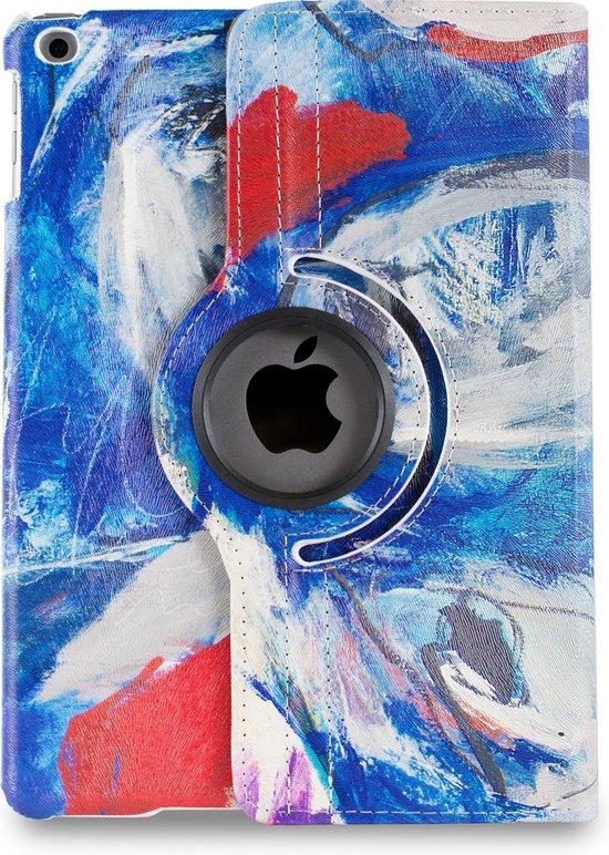 Apple iPad Hoes - 360° Draaibaar -  Voor de Apple iPad Air 2, 9.7 inch (2014) A1566, A1567 - Kunst Abstract Artistiek Blauw en Rood 'Faces' - Uniek Design
