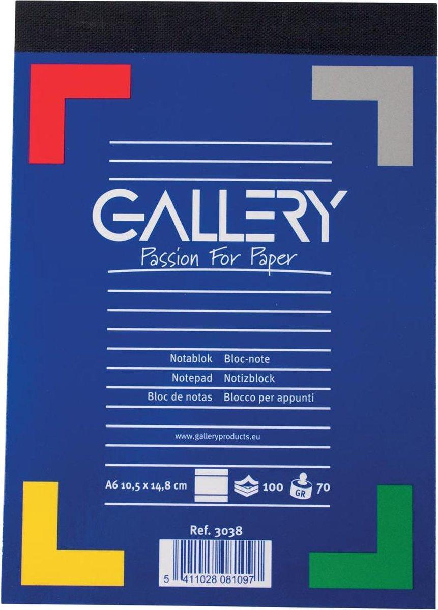 Gallery notitieblok formaat 105 x 148 cm (A6) gelijnd blok van 100 vel