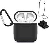 Accessoires Set met Silicone Hoesje, Case en Strap voor Apple Airpods – Zwart