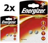 4 Stuks (2 Blisters a 2St) - Energizer G13 / LR44 / A76 1.5V knoopcel