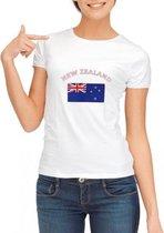 Wit dames t-shirt met vlag van Nieuw Zeeland L