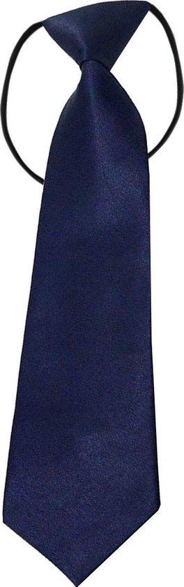 Fako Fashion® - Kinderstropdas - Stropdas - Das - Effen - Elastiek - Navy Blauw