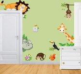 Muursticker Dierentuin - Giraffe en Leeuw - 90x60 cm