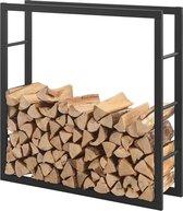Stalen brandhoutrek houtopslag zwart voor ca. 0,25 m³ hout
